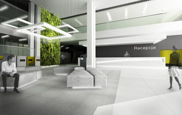 Projekt wnętrz holu głównego biurowca w Katowicach – koncepcja